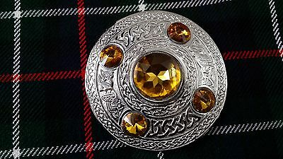 """Scottish Fly Plaid Brooch Golden Stone Silver Finish 4""""/Kilt Fly Plaid Brooches"""