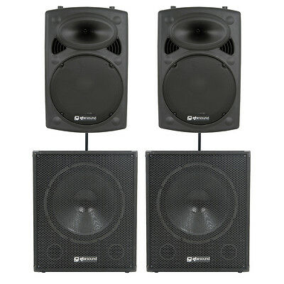 QTX 2000W Active Portable Speaker Top & Sub Package DJ Disco Sound System PA