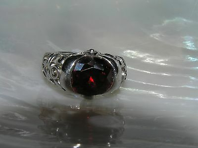 Estate 925 Marked Sterling Silver Faceted Oval Red Paste Stone in Ornate Setting