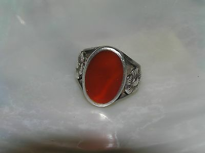 Estate 925 Silver Hallmarked Wide Red Oval with Carved Flower Sides Ring Size 5.