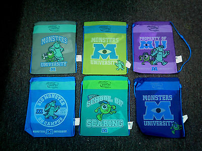 Disney Monsters Inc. University Subway 2013 Lunch Bag Tote Backpack Set of 6 NEW