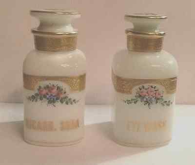 A pair of French opaline hand painted apocathary jars, late 19th century