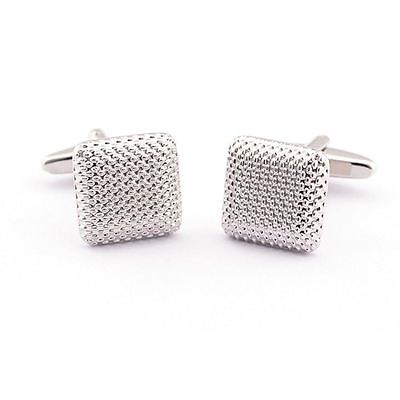 Stainless Steel Soild Silver Color Fashion Men's Wedding Gift Cuff Links SS53