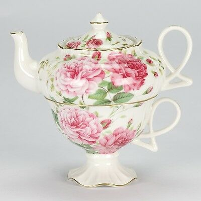 NEW Vintage style Tea for One set Teapot cup rose shabby chic porcelain ornate