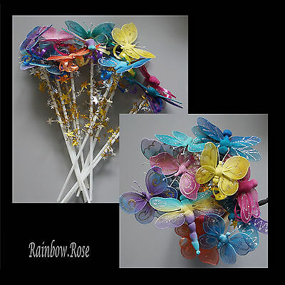 Butterfly & Dragonfly Fairy Wand x 12 BULK wands Party Favour Gift Resell #M