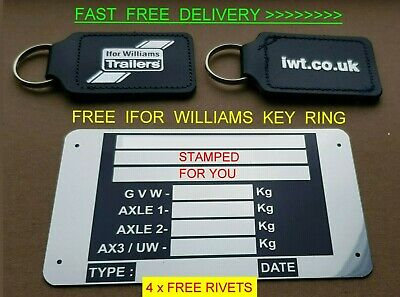 Stamped 4 U  Free Ifor Williams Key Ring Trailer Plate Car Horse Box Ramp Tipper