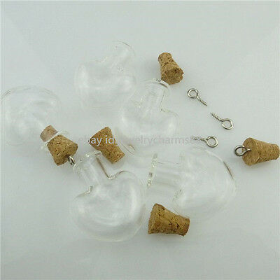 18430 20PCS Clear Vial Mini Heart Glass Jars Bottle with Cork Pendants Keepsake