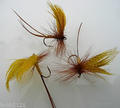 3 x mouches french partridge barbless ton ambre H10  truite ombre
