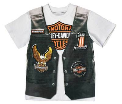 Harley-Davidson Little Boys' Printed-On Motorcycle Vest Short Sleeve Tee 1072625