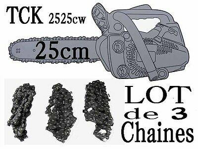 Lot de 3 chaines  TRONCONNEUSE TCK  2525cw  coupe 25cm piece guide a chaine 40T