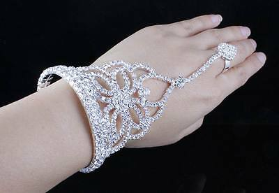 Butterfly Austrian Rhinestone Crystal Slave Glove Bracelet W Ring Bangle B11981S