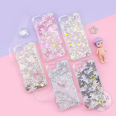 Cartoon Unicorn Liquid Glitter Clear Phone Case Cover for iPhone 5 6S 7 8 Plus