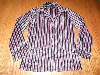 NEW Womens ANNE KLEIN PJ PAJAMA LONG SLEEVE FLEECE PINK BLACK STRIPED SMALL S