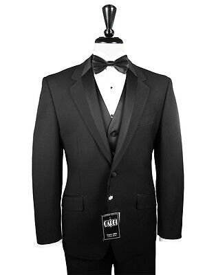 39 L PROM Mens Black Two Button Tuxedo Package Used Formal Tux Wedding Sale Set