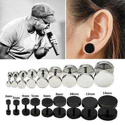 2PCS Round Barbell Stainless Steel Men's Earring Punk Gothic Ear Studs 4 sizes j
