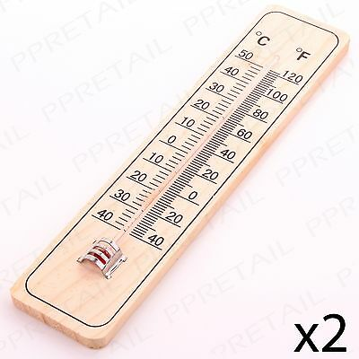2 x Indoor/Outdoor Thermometer Wall Hung C/F Temperature Control Home/Garden