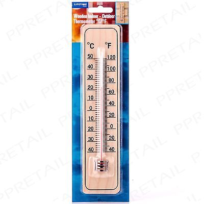 TRADITIONAL MOUNTED WOOD THERMOMETER Wall Hung Celsius/Fahrenheit Temperature