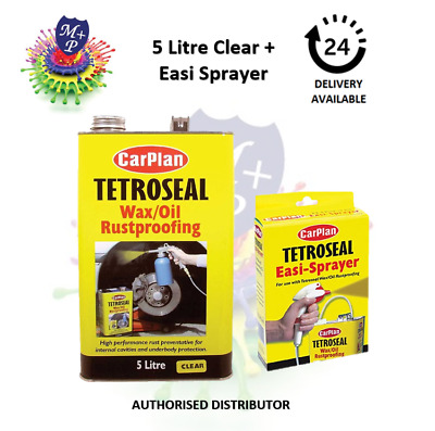 Carplan Waxoyl  Rustproof Protector CLEAR 5L & Easi Spray Gun- Tetroseal Wax Oil