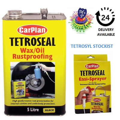 Carplan Waxoyl  Rustproof Protector black 5L & Easi Spray Gun- Tetroseal Wax Oil