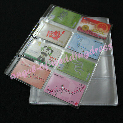 5 Album Pages 8 Pockets Stamp Credit Cards Money Bill Holders Collection 86x56mm