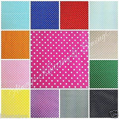 "Per fat quarter half Metre  metre 5mm Polka Dot Poly Cotton fabric 44"" free p&p"