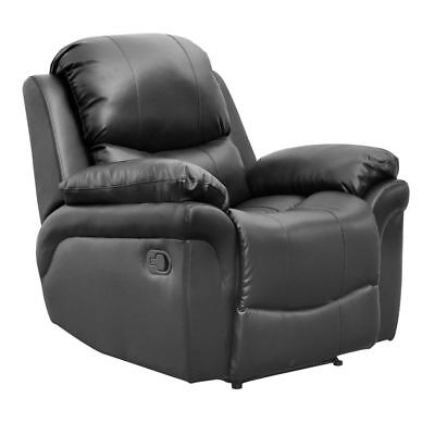 Madison Black Real Leather Recliner Armchair Sofa Home Lounge Chair Reclining