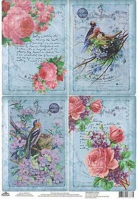 Rice paper for decoupage Beautiful birds with roses. Blue background