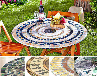 Fitted Mosaic Tablecloth IN HAND Square Round Elastic Table Cover Grapes Patio
