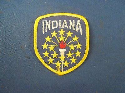 Vintage Indiana State Flag Travel Souvenir Embroidered Sew On Patch #2