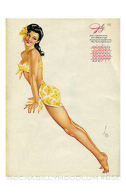 e6f4554ae New Pin Up Girl Poster 11x17 Alberto Vargas Calendar July 1946 Tiki Brunette