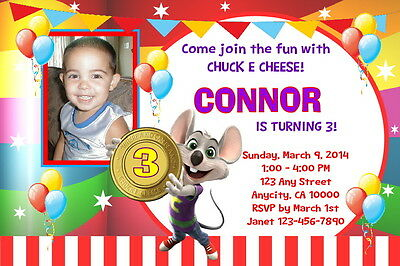 image relating to Chuck E Cheese Printable Invitations identified as CHUCK E CHEESE Personalized Birthday Celebration Invitation Absolutely free Thank Your self Card