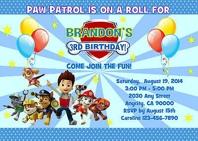 photo about Printable Paw Patrol Invitations referred to as PAW PATROL Personalized Printable Birthday Bash Invitation Absolutely free Thank U Card