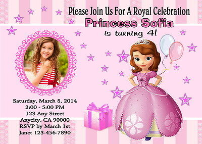 Sofia the first custom photo birthday party invitation free thank sofia the first custom photo birthday party invitation free thank you card stopboris Image collections