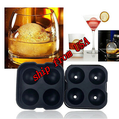 Tray Sphere Mould Ice Cube Round Ball Mold Whiskey Cocktails Party Bar USA 4PCS