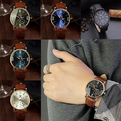 Fashion Mens Date Stainless Steel Leather Band Military Sport Quartz Wrist Watch