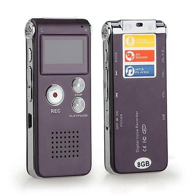 Rechargeable 8GB 13Hr Digital Audio/Sound/Voice Recorder Dictaphone MP3 Player