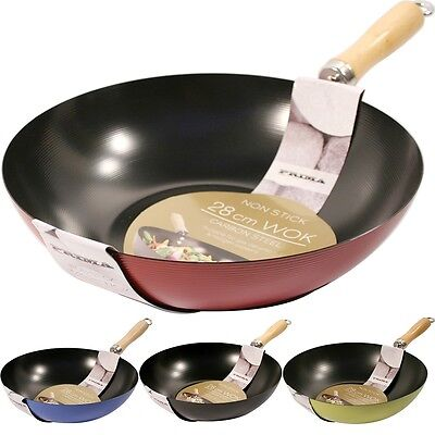28Cm Wok Non Stick Cookware Pan Frying Chinese Saucepan Carbon Steel Kitchen New