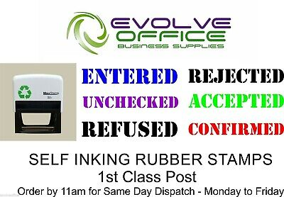 Self Inking TEXT Rubber Stamp - Various Ink Pad Colours and Designs - Office Use
