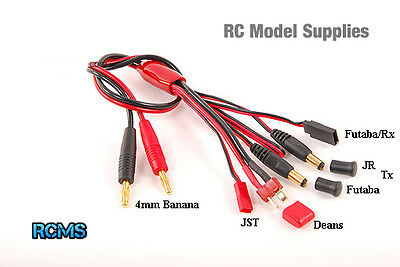 4mm Banana Multi Charging Battery Harness Lead Futaba Rx Pack JR Tx Deans JST UK