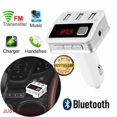 Bluetooth Car Kit Wireless FM Transmitter 3x USB Charger AUX Audio MP3 Player UK