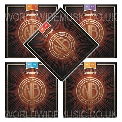 D'Addario Nickel Bronze Acoustic Guitar Strings - with a choice of 5 Gauges
