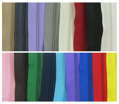 CONTINUOUS ZIP & SLIDERS No.3  *19 COLOURS* ZIPPERS CUSHIONS HABERDASHERY SEWING