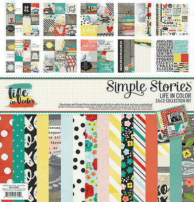 Simple Stories Life in Color Collection 12 x 12 Collection Kit 5000   2016