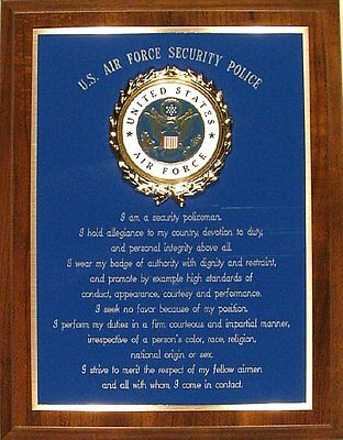 USAF Air Force Security Police/Forces Creed Plaque - Patriotic Support Blue Gift