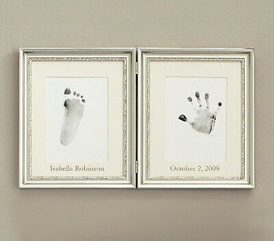 Pottery Barn Baby Silver Leaf Hand and Foot Print Frame