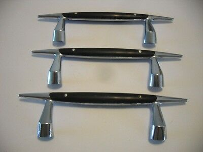 3 Vintage CHROME TAPPAN Stove Oven Door Handles Drawer Pulls Black Bakelite?