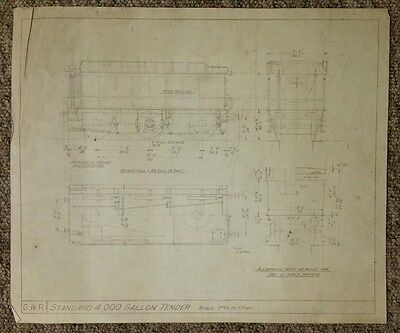 Vintage GWR 4000 Gallon Straight Sided Tender Technical Drawing 37.5 x 31.5cm