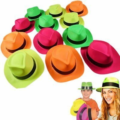 12 pack Neon Bright Fedora Hats Photo Booth Party Favors Props Adult Children