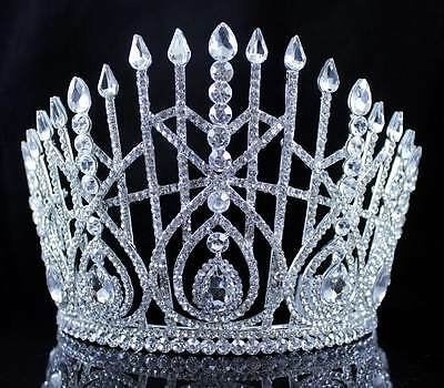 Lg Beauty Queen Crystal Rhinestone Tiara Crown Hair Combs Pageant T2179 Silver