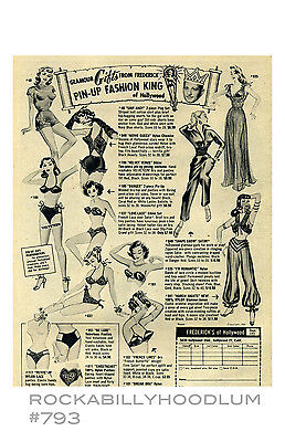 Pin Up Girl Poster 11x17 Vintage Ad Frederick's of Hollywood Clothing Lingerie